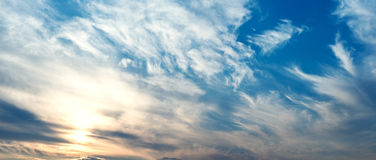 Sky with clouds and sun Royalty Free Stock Photos