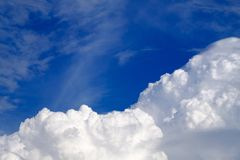 Sky with clouds and sun, Cumulus sunset clouds with sun setting Royalty Free Stock Images