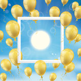Sky Clouds Sun Golden Balloons Frame. Frame with golden balloons, clouds, blue sky and sun Royalty Free Stock Image