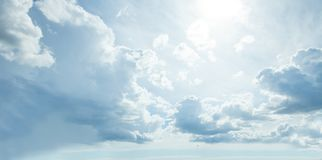 Sky and clouds with sun light, nature background.  stock photo