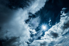 Sky with clouds and sun natur. Royalty Free Stock Photos