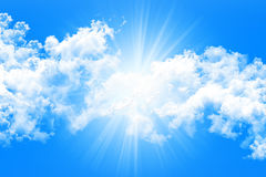 Sky and Clouds With Sun Rays Background 3D illustration Royalty Free Stock Image