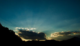 Sky and clouds with sun rays Royalty Free Stock Photos