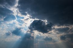 Sky, Clouds, Sun, Rays, Weather Stock Image