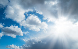 Sky clouds sun spring horizontal background stock images
