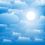 The sky with clouds and sun. Vector. Stock Image
