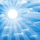 The sky with clouds and sun. Vector. Royalty Free Stock Photos