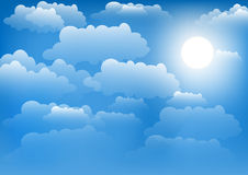 The sky with clouds and sun. Vector illustration. Royalty Free Stock Images