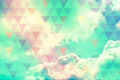 Sky with clouds and sunlight, natural background Stock Photo