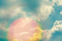 Sky with clouds and sunlight, natural background Royalty Free Stock Photo