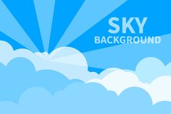 Sky with clouds and sunlight. Summer abstract blue banner, flyer, card. Summer sky. Vector illustration vector illustration