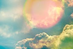Sky with clouds and sunlights, natural background Royalty Free Stock Photo