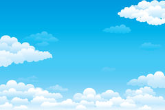 Sky with clouds. On a sunny day. Vector illustration Stock Photos