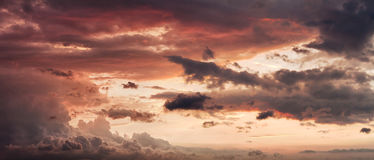 Sky with clouds at sunset Stock Photos