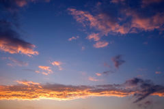 Sky and clouds. Clouds in the sky at sunset royalty free stock photo