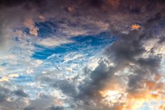 The sky and clouds at sunset stock photos