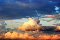 Sky with clouds at sunset. Sunset sky with multicolor clouds. Moscow Russia Stock Images
