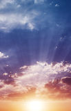 Sky, clouds, sunset, the rays background Royalty Free Stock Photography