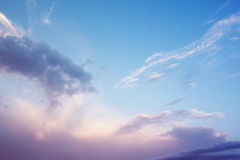 Sky, clouds, sunset, the rays background Stock Images