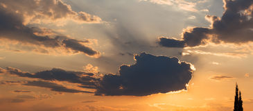 Sky with clouds at sunset Stock Images