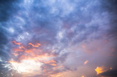 Sky with Clouds at Sunset or Sunrise Background, HDR Stock Images