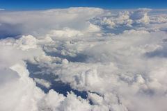 Sky and clouds taken from airplane sunny day Royalty Free Stock Image