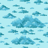 The sky and clouds. Vector. Cartoon clouds. Seamless pattern on a blue background Royalty Free Stock Photo