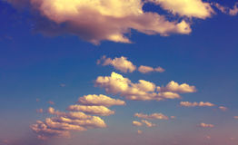 Sky with clouds. Vintage style. Royalty Free Stock Image