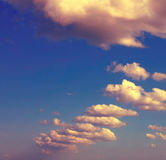 Sky with clouds. Vintage style. Stock Photo
