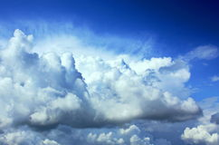Sky with clouds. Volumetric clouds against the clear blue sky Royalty Free Stock Photography