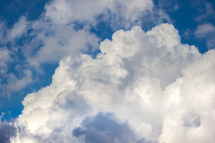 Sky clouds wallpaper blue white wall Royalty Free Stock Photo