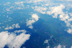 Sky and clouds. Wing sky blue clouds air fog aerial photography royalty free stock photos