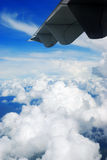 Sky and clouds. Wing sky blue clouds air fog aerial photography stock photography