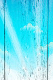 Sky and Clouds on wood background Stock Photos