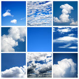 Sky collage. A collage of photos about sky and clouds Royalty Free Stock Photo