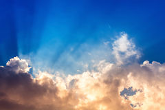 Sky. Colorful sky with cloud,Sun beam in blue sky with orange cloudy Stock Photos