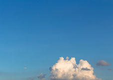 Sky. Colorful space blue sky with low cloud and airplane Stock Images