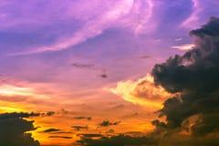 Sky. Colorful sundown light,orange yellow and pink light in purple sky Stock Image