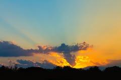 Sky. Colorful sundown sky,orange and yellow sun light with light blue sky Royalty Free Stock Photography