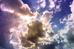 Sky. Colorful Sunshine light with overcast sky Stock Photography