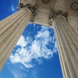 Sky and columns royalty free stock photography