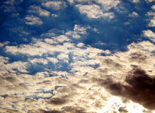 Sky. The combination of clear blue sky and thunderous. Stock Photo