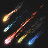 Sky comets and meteorite, rocket trails isolated on dark transparent background. Meteorite and colored asteroid fall illustration Royalty Free Stock Photo
