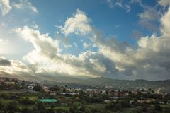 Sky with coulds in Gran Canaria. Village landscape Royalty Free Stock Images