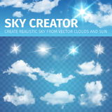 Sky creator. Set realistic clouds and sun. Vector illustration EPS 10. Vector illustration of Sky creator. Set realistic clouds and sun vector illustration