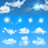 Sky creator. Set realistic clouds and sun. Vector illustration EPS 10. Vector illustration of Sky creator. Set realistic clouds and sun royalty free illustration
