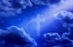 Sky Cross Heaven Stars Background. A heaven background with a night sky and cross made of stars and a shaft of light stock image