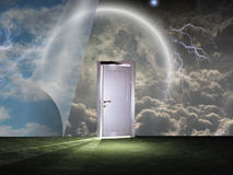 Sky curtains. And white door. This image created by me from my own images stock image