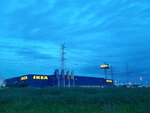 The sky. Dark blue sky above Ikea Royalty Free Stock Photography