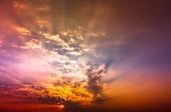Sky. Dark sky with red sun light Royalty Free Stock Photo